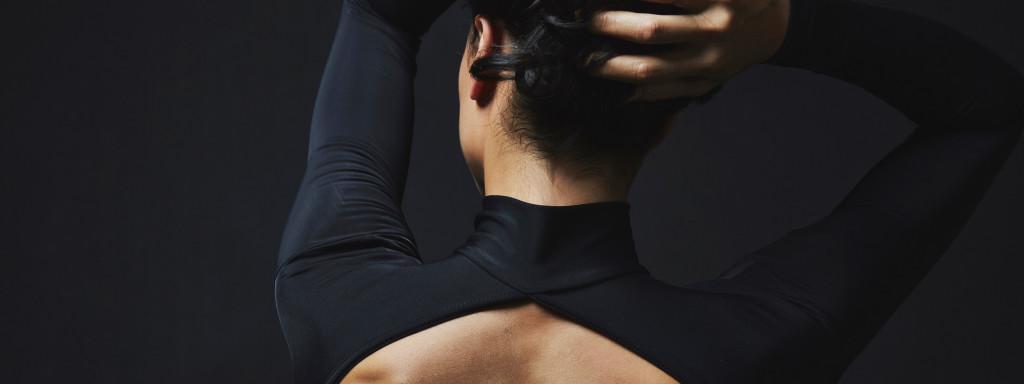Ballerina ballet leotard Black long sleeves with collar
