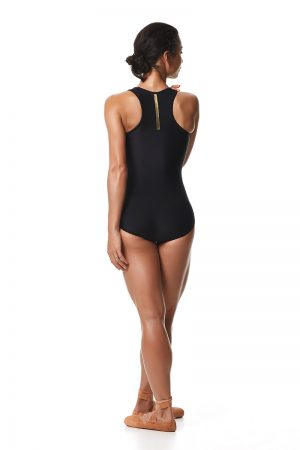 Leotard from Keto Dancewear Black Collection, a perfect addition to any ballerina's rehearsal wardrobe. Racerback Ft brilliant gold stripe down center back. Ballet bodysuit.