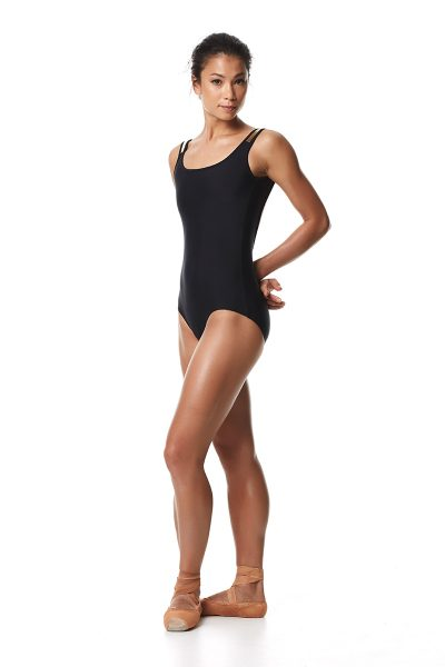 Low Back Leotard Keto Black Dancewear Collection Gold detail on shoulder Low back leotard