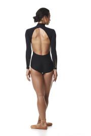 Ballerina Ballet leotard. Long sleeves black open back collar leotard bodysuit